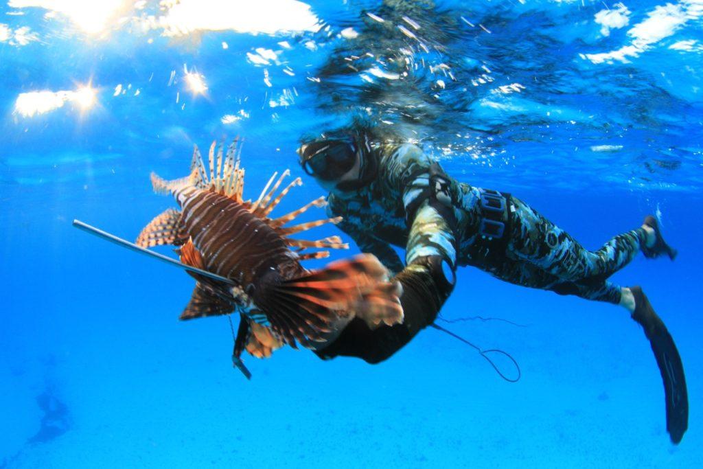 Ren Chapman spearfishing course lionfish Bahamas Hawaiian sling photo Ryan McInis