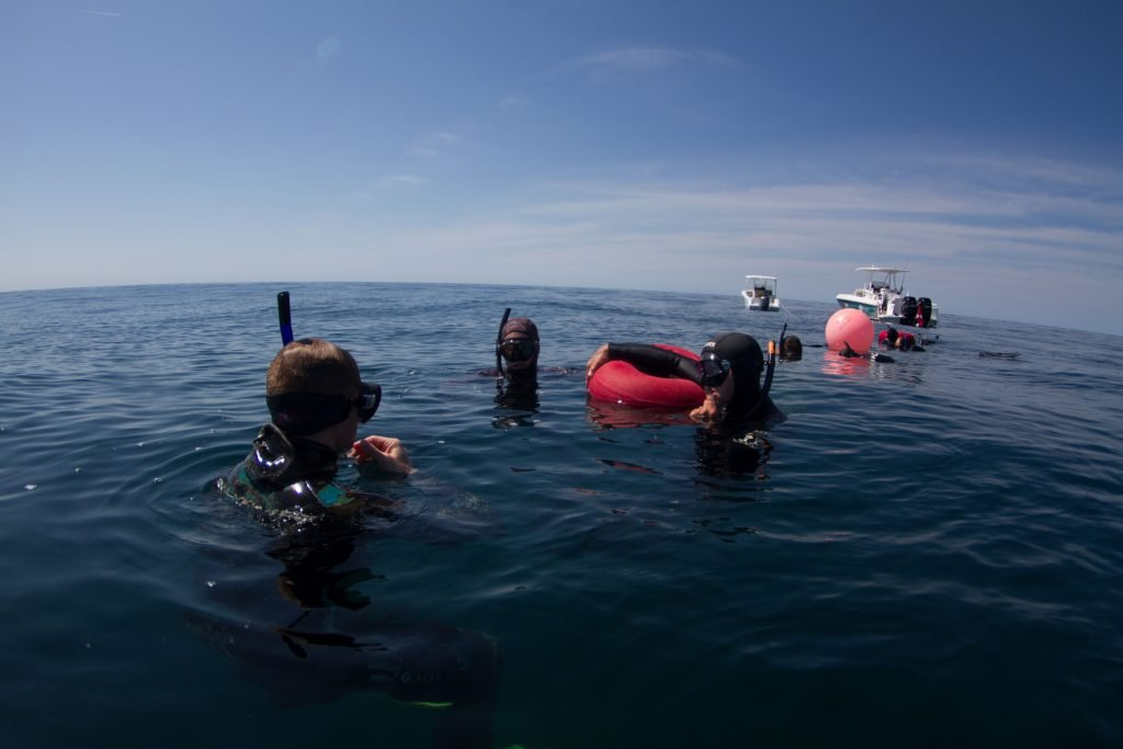 Ashley and Ren Chapman teaching freediving North Carolina Students